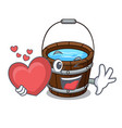 with heart wooden bucket mascot cartoon vector image vector image