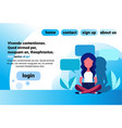 woman bubble chat communication sitting pose using vector image vector image