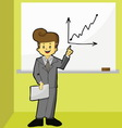 Businessman point to growth graph vector image