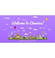 Welcome to America poster with famous attractions vector image