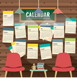 2017 Calendar Starts Sunday Library Concept vector image
