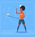 african american girl stream modern video blog vector image vector image