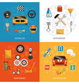 auto concept 4 flat icons vector image vector image