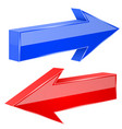 back and next arrows 3d shiny red and blue signs vector image