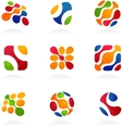 business abstract icons colorful set vector image vector image
