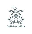 carnival mask line icon carnival mask vector image vector image