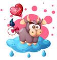 cartoon cow cloud ballon vector image vector image