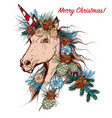 christmas hand drawn unicorn with cone fur tree vector image