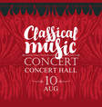 classical music poster with red stage curtains vector image
