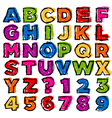 colorful doodle alphabet and numbers vector image vector image