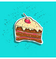 cute hand drawn tasty cake peace with cherry on vector image vector image