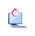 desktop computer with clock alarm vector image vector image