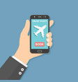 flight tickets online booking from smartphone vector image