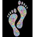 floral human footprints on black background vector image