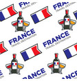 french wine glasses and bottle national flag vector image vector image