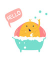 funny happy elephant having a shower with bubbles vector image vector image