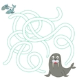 Game labyrinth find a way seal fish vector image vector image