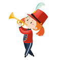 girl in band playing trumpet vector image