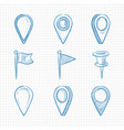 hand drawn doodle navigation pins vector image vector image