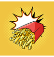hand drawn pop art of french fries vector image vector image
