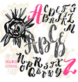 Hand made brush and ink typeface Handwritten retro vector image vector image