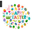 happy easter lettering round vector image
