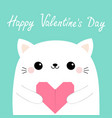 happy valentines day white cat kitten head face vector image vector image
