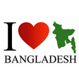 I love Bangladesh with map vector image vector image