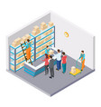isometric mail delivery parcels concept vector image