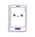 kawaii smartphone device cute cartoon isolated vector image