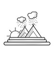 line cloud raining with mountain and sun vector image vector image