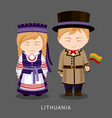 lithuanians in national dress with a flag vector image
