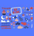 love detail valentine cartoon design element set vector image