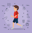 man running with sports set icons vector image