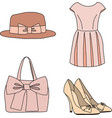 Pink clothes collection vector image vector image