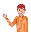portrait man waving hand smiling character vector image