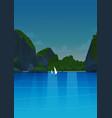 sea landscape night beautiful asian beach with vector image