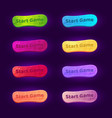 set 8 gradient buttons for arcade video games vector image vector image