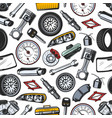 spare parts of car and auto seamless pattern vector image