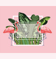 square frame with flamingos and leaves background vector image vector image