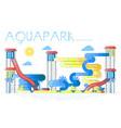 summer aquapark with swimming pools water slides vector image