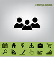 team work sign black icon at gray vector image vector image