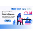 woman using laptop sitting office workplace vector image vector image