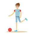 young soccer player kicking a ball vector image vector image