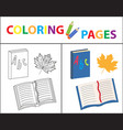 coloring book page back to school set book vector image
