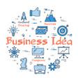 blue round business idea text concept vector image