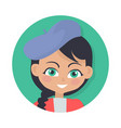 smiling girl with black braid and forelock hat vector image