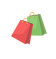 red and green shopping bags on a white background vector image