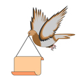 A flying pigeon holding a big blank paper in beak vector image