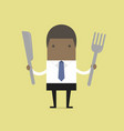 african businessman with fork and knife vector image vector image